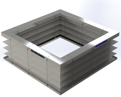 Автоматическая противопожарная штора «Гармошка» квадратная замкнутая форма в раскрытом состоянии